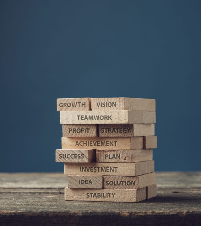 Stack of wooden pegs with words of personal and business development, from idea and vision to growth and success.